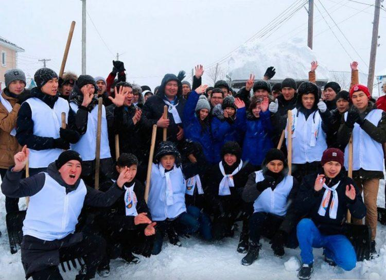 В Jas Otan поддержали инициативу президента, очистив дом престарелых от снега
