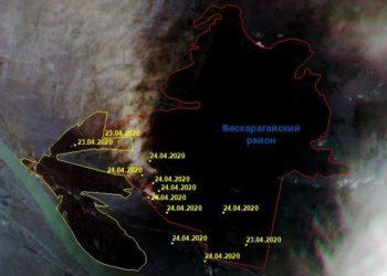 Снимки из космоса показали масштабы лесного пожара в ВКО 2