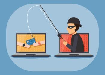 Cyber thief hacker holding fishing rod phishing credit card with hands on computer laptop. Cyber security and crime concept. Vector illustration of flat design people characters.