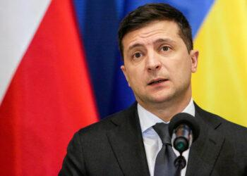 Ukrainian President Volodymyr Zelenskiy attends a meeting with his Polish counterpart Andrzej Duda during the events dedicated to the 75th anniversary of the liberation of the former Nazi German concentration and extermination camp Auschwitz in Oswiecim, Poland January 27, 2020. Adrianna Bochenek/Agencja Gazeta via REUTERS ATTENTION EDITORS - THIS IMAGE WAS PROVIDED BY A THIRD PARTY. POLAND OUT. NO COMMERCIAL OR EDITORIAL SALES IN POLAND.