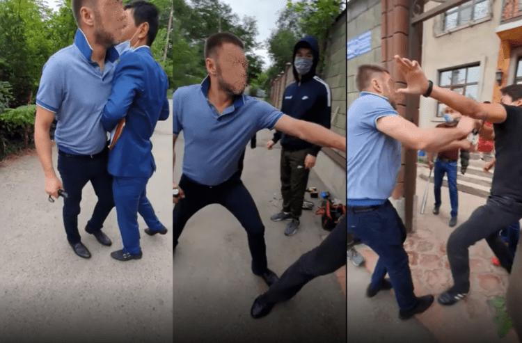 Фото: кадры из видео. Мартынов (в синей футболке) нападает с электрошокером на представителей судоисполнителя