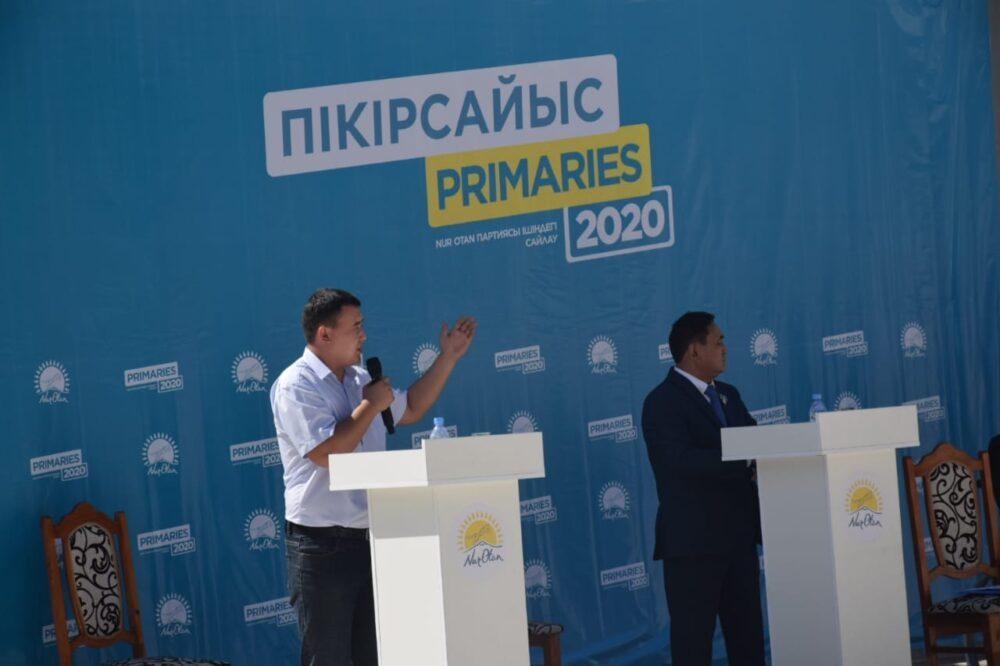 В Туркестане под открытым небом начались публичные дебаты в рамках праймериз Nur Otan 4