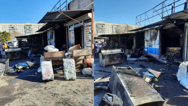 Крупный пожар в Караганде: полицейские задержали поджигателей рынка 1