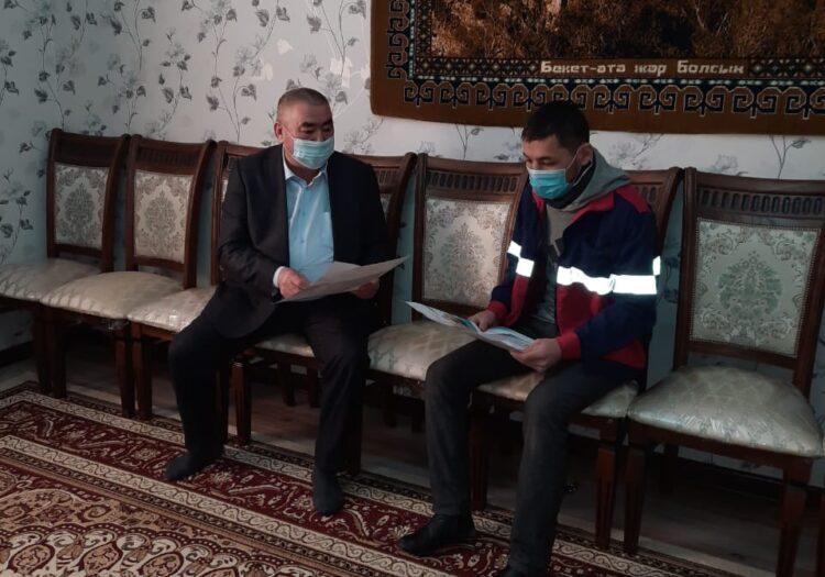 Член Каракиянского районного штаба посетил избирателей на дому 1