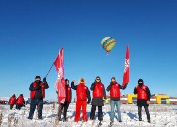 В Караганде пролетел воздушный шар с лозунгом Народной партии Казахстана 1