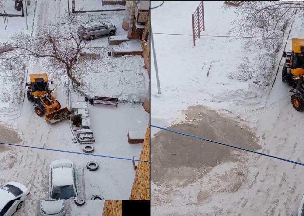 В Караганде пытались уложить брусчатку в снег 1