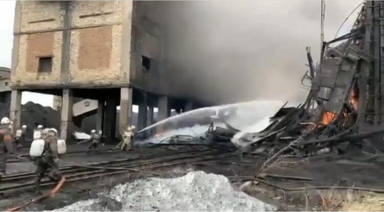 "На шахте ""АрселорМиттал Темиртау"" произошел крупный пожар 1"