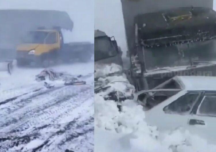 Из-за непогоды 10 машин столкнулись в Павлодарской области 1