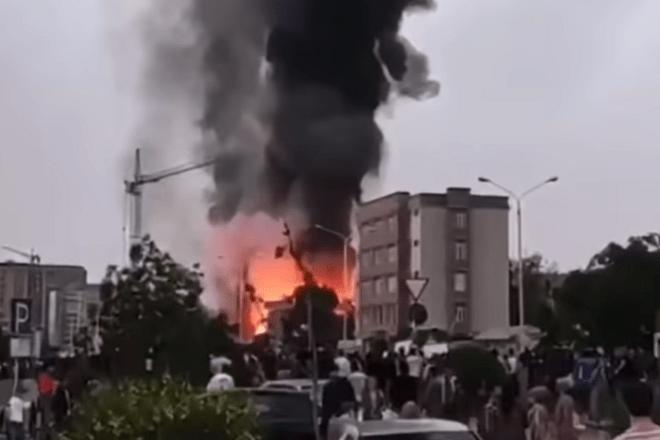 Скриншот с видео взрыва в Душанбе