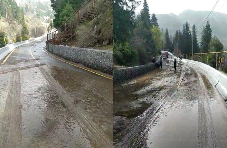 Талые воды затопили дорогу на Шымбулак 1