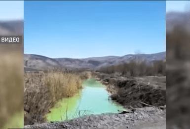 В неоново-зеленый цвет окрасилась вода в канале, впадающем в Бухтарму в ВКО 1