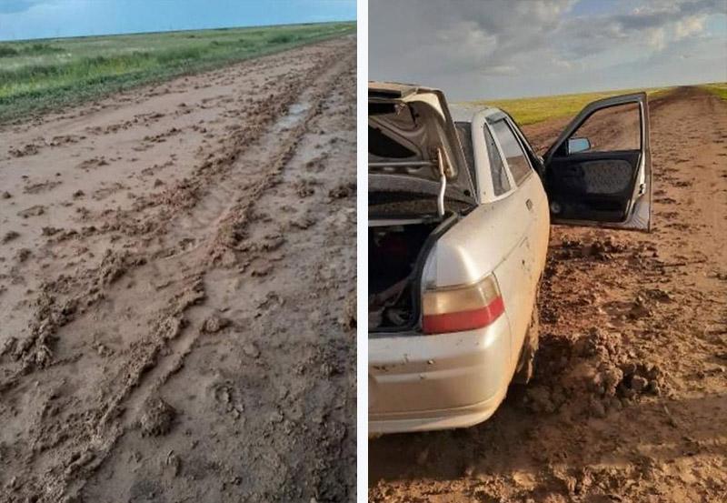 Один дождь превратил трассу ЗКО в болото 2